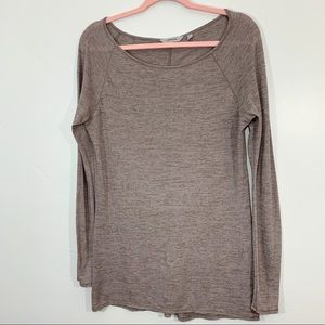 🌷Athleta | Brown Pin Striped Stretchy Long Sleeve